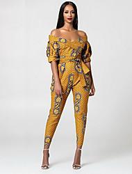 Недорогие -Жен. Винный Желтый Зеленый Блесна Комбинезоны Комбинезон-пижама, Контрастных цветов S M L