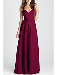 cheap -A-Line Elegant Prom Dress Plunging Neck Sleeveless Floor Length Chiffon with Pleats 2020