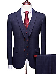 cheap -Tuxedos Slim Fit Single Breasted Two-buttons Polyester / Spandex Checkered / Gingham