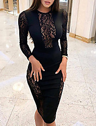 cheap -Women's Sheath Dress Knee Length Dress - Long Sleeve Solid Colored Lace Sexy Going out Black S M L XL