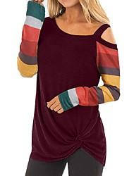 cheap -Women's Daily T-shirt - Striped One Shoulder Black