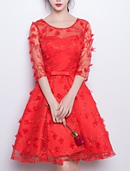 cheap -A-Line Jewel Neck Knee Length Polyester Dress with Appliques / Bow(s) by LAN TING Express