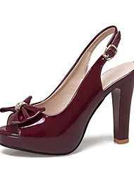 cheap -Women's Heels Chunky Heel Peep Toe Bowknot PU British / Minimalism Spring & Summer Black / Burgundy / Wedding / Party & Evening