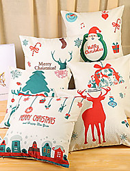 cheap -White Christmas Pillow Covers, Merry Christmas Pillowcases Soft Square Christmas Tree Sock Reindeer Throw Pillow Covers, 18 x 18 Inches, Set of 4 for Sofa, Couch, Bed and Car Decor