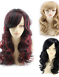 cheap -Synthetic Wig Body Wave Asymmetrical Wig Blonde Long Light Blonde Natural Black Black / Red Synthetic Hair 24 inch Women's Best Quality curling Blonde Black