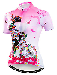 cheap -21Grams Women's Short Sleeve Cycling Jersey Pink Floral Botanical Bike Jersey Top Mountain Bike MTB Road Bike Cycling Breathable Moisture Wicking Quick Dry Sports Polyester Elastane Terylene Clothing