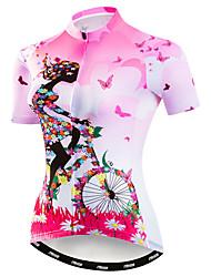 abordables -21Grams Femme Manches Courtes Maillot Velo Cyclisme Rose Floral Botanique Cyclisme Maillot Hauts / Top VTT Vélo tout terrain Vélo Route Respirable Evacuation de l'humidité Séchage rapide Des sports