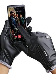 cheap -Winter Bike Gloves / Cycling Gloves Touch Gloves Waterproof Windproof Warm Waterproof Zipper Full Finger Gloves Sports Gloves Fleece Black for