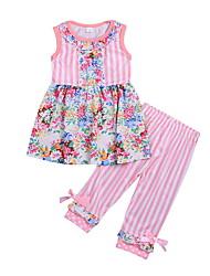 baratos -bebê Para Meninas Moda de Rua Floral Sem Manga Padrão Conjunto Rosa