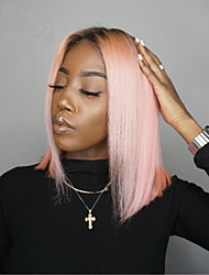 cheap -Unprocessed Virgin Hair 13x6 Closure Lace Front Wig Bob Middle Part Deep Parting style Brazilian Hair Peruvian Hair Straight Pink Wig 150% Density Best Quality Hot Sale 100% Virgin Comfy Coloring