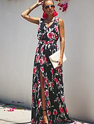 cheap -Women's Maxi Red Blue Dress Street chic A Line Geometric Deep V S M