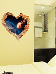 cheap -New SK63001 3D heart-shaped cracked wall bedroom living room decoration removable wall sticker