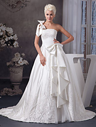 cheap -A-Line Wedding Dresses One Shoulder Court Train Lace Organza Satin Spaghetti Strap with Bow(s) Beading Appliques 2020