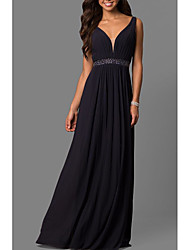 cheap -A-Line Plunging Neck Sweep / Brush Train Chiffon Elegant Formal Evening Dress with Beading / Pleats 2020