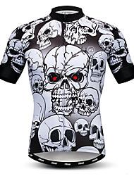 cheap -21Grams Men's Short Sleeve Cycling Jersey Black / White Skull Bike Jersey Top Mountain Bike MTB Road Bike Cycling Breathable Moisture Wicking Quick Dry Sports Polyester Elastane Terylene Clothing