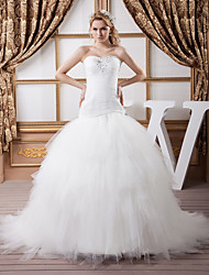 cheap -Mermaid / Trumpet Sweetheart Neckline Court Train Satin / Tulle Strapless Sexy Made-To-Measure Wedding Dresses with Beading / Cascading Ruffles / Ruched 2020