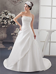 cheap -A-Line Strapless Chapel Train Lace / Satin Strapless Wedding Dresses with Ruched / Beading / Appliques 2020