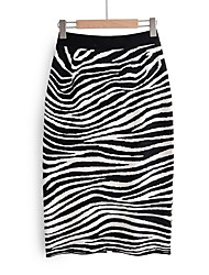 cheap -Women's Daily Wear Basic Bodycon Skirts - Striped Black One-Size