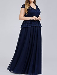 cheap -A-Line V Neck Maxi Lace Bridesmaid Dress with Lace