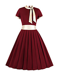 cheap -Audrey Hepburn 1950s Vintage Inspired Dress Women's Spandex Costume Wine / Green Vintage Cosplay Daily Wear Short Sleeve A-Line