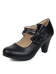 cheap -Women's Heels Chunky Heel Round Toe Bowknot PU Casual / Sweet Spring & Summer Black / White / Pink