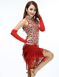 cheap -Women's Flapper Girl Latin Dance Flapper Dress Party Costume Tassel Sequins Sequin Polyster Black Black+Golden White Dress