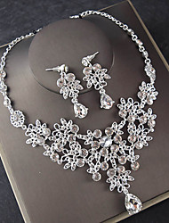 cheap -Women's White AAA Cubic Zirconia Necklace Earrings Retro Stylish Classic Vintage Silver Earrings Jewelry Silver For Wedding Engagement Promise 1 set