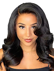 cheap -Human Hair Lace Front Wig Free Part style Brazilian Hair Wavy Black Wig 130% Density with Baby Hair Natural Hairline For Black Women 100% Virgin 100% Hand Tied Women's Long Human Hair Lace Wig
