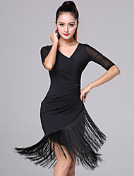 cheap -Women's Flapper Girl Latin Dance Flapper Dress Party Costume Tassel Flapper Costume Rayon / Polyester Black Red Dress