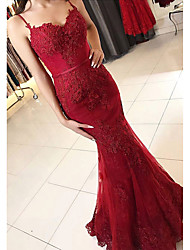 cheap -Mermaid / Trumpet Elegant Prom Formal Evening Dress Spaghetti Strap Sleeveless Floor Length Lace Tulle with Beading Appliques 2020