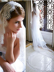 cheap -One-tier Elegant & Luxurious / Love Wedding Veil Chapel Veils with Solid 118.11 in (300cm) Tulle / Drop Veil
