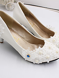 cheap -Women's Wedding Shoes Cone Heel Closed Toe Lace / PU Sweet Spring &  Fall White / Party & Evening