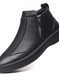 cheap -Men's Leather Shoes Leather Fall / Winter Boots Black