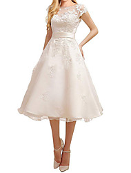 cheap -A-Line Off Shoulder Knee Length Tulle Regular Straps Vintage Little White Dress / 1950s Wedding Dresses with Beading / Appliques 2020
