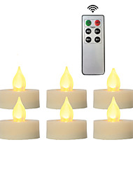 cheap -6pcs Decoration Light / LED Night Light / Flameless Candles Warm Yellow Button Battery Powered Remote Controlled / Decoration / Atmosphere Lamp Batteries Powered Christmas / New Year's