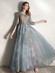 cheap -A-Line Elegant Prom Dress V Neck Half Sleeve Floor Length Tulle with Sequin Appliques 2020