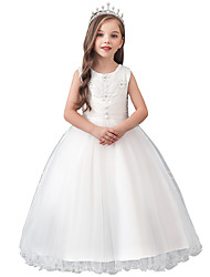 cheap -Princess / Ball Gown Maxi Christmas / Wedding / First Communion Flower Girl Dresses - Cotton Blend / Lace / Tulle Sleeveless Jewel Neck with Lace / Crystals / Solid