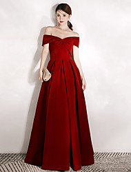 cheap -A-Line Off Shoulder Floor Length Velvet Dress with by LAN TING Express