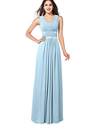 cheap -A-Line Scoop Neck Floor Length Chiffon Bridesmaid Dress with Sash / Ribbon / Ruching