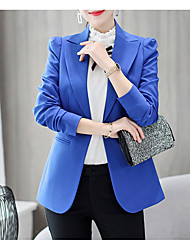 cheap -Women's Blazer Notch Lapel Cotton / Polyester Green / Black / Royal Blue / Slim