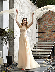 cheap -A-Line Jewel Neck Sweep / Brush Train Tulle 3/4 Length Sleeve Cape Wedding Dresses with Beading 2020 / Illusion Sleeve