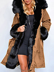 cheap -Women's Solid Colored Long Parka, Polyester Black / Army Green / Khaki S / M / L