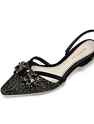 cheap -Women's Flats Low Heel Pointed Toe Rhinestone Satin / Linen Sweet / Minimalism Spring &  Fall / Spring & Summer Black / Brown / Party & Evening