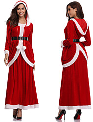 cheap -Mrs.Claus Dress Women's Adults' Costume Party Christmas Christmas Polyester Dress / Belt / Velvet