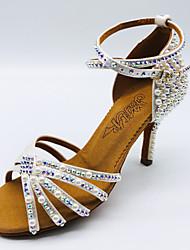 cheap -Women's Dance Shoes Satin Latin Shoes Rhinestone / Faux Pearl / Glitter Heel Slim High Heel White