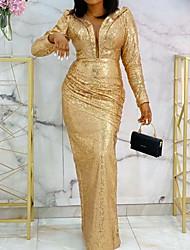 cheap -Sheath / Column Elegant Formal Evening Dress Plunging Neck Long Sleeve Floor Length Stretch Satin with Sequin 2021