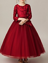 cheap -Ball Gown Floor Length Pageant Flower Girl Dresses - Polyester Long Sleeve Jewel Neck with Bow(s) / Appliques