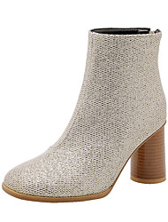 cheap -Women's Boots Chunky Heel Square Toe PU Booties / Ankle Boots Casual / British Fall & Winter Almond / Pink