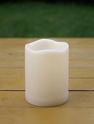 Недорогие -1 шт. 7.5 * 7.5 см водонепроницаемый открытый пластиковый беспламенный светодиодный столб свеча на батарейках электрический ночной свет мерцает теплый желтый свет с таймером на рождество украшения