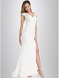 cheap -Mermaid / Trumpet V Neck Floor Length Nylon / Spandex / Lace Cap Sleeve Wedding Dresses with Lace / Split Front 2020